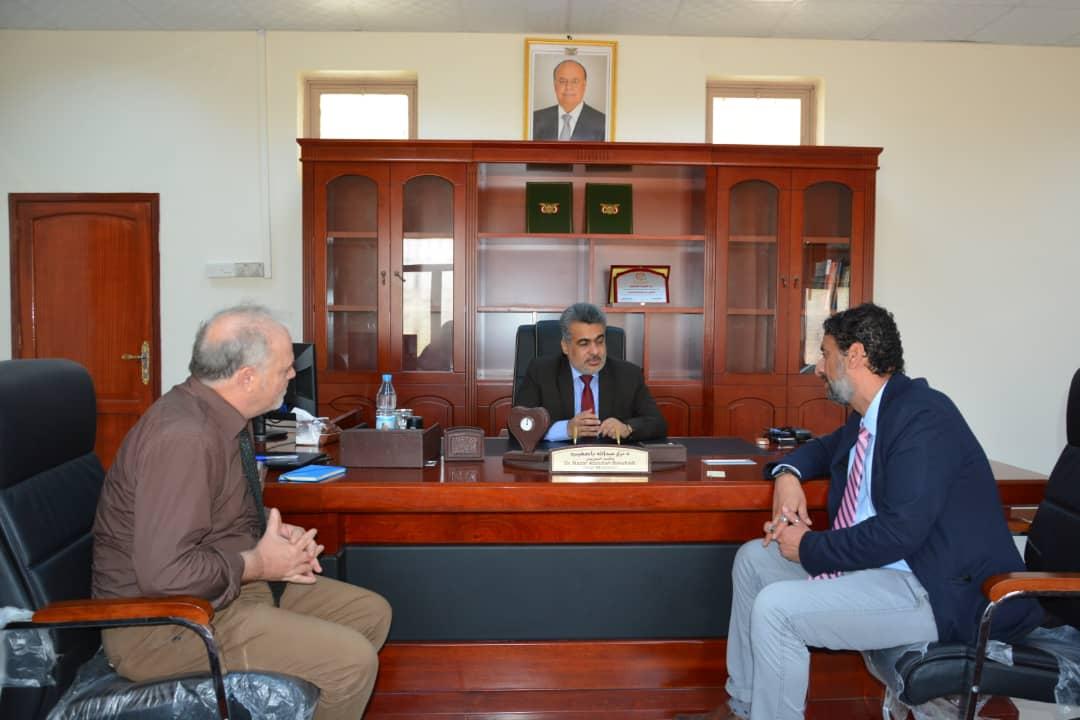 الدكتور باصهيب يبحث مع منظمتين دوليتين تنفيذ مشاريع تنموية وإنسانية
